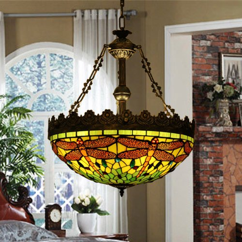 Tiffany Stained Glass verde Dragonfly Retro Lampadario 5
