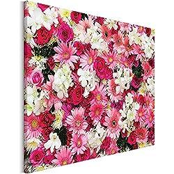 Revolio - Cuadro en Lienzo - impresión artística - Decoracion de Pared - Tamaño: 40x30 cm - Flores Margaritas Rosa