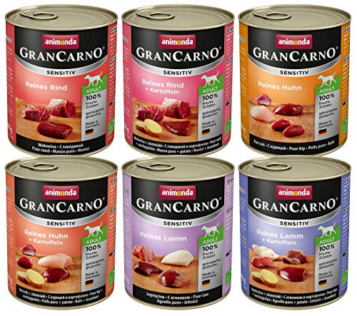 Animonda Gran Carno Hundefutter Adult Sensitiv Mix, Nassfutter für ausgewachsene Hunde von 1-6 Jahren, MIX, (6 x 800 g) -