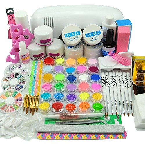 Coscelia 9 UV Lámpara de Secado Kit UV Lámpara UV Gel Crew Crystal Brush Lápices Kit para Uñas Artes...