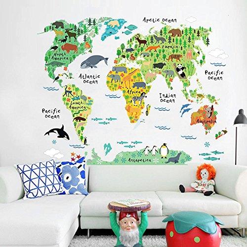 Wandaro W3321 Wandtattoo Weltkarte Tiere I 95 x 73 cm I Kinderzimmer Atlas Landkarte Globus Welt selbstklebend Aufkleber Wandaufkleber Wandsticker