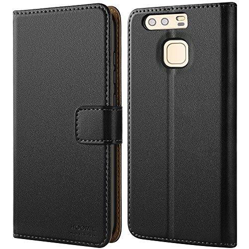 Flip Aus Leder (Huawei P9 Hülle,HOOMIL Premium Handy Schutzhülle für Huawei P9 Leder Wallet Tasche Flip Brieftasche Etui Schale (H3012, Schwarz))