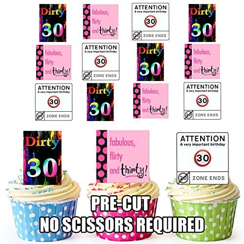 12 X Happy 30th Birthday Fun femelle de carte en Papier comestible prédécoupé pour décorations de gâteau avec Support de fixation