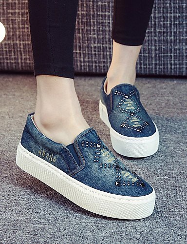 ZQ gyht Scarpe Donna - Mocassini / Senza lacci - Tempo libero / Casual - Creepers / Comoda / Punta arrotondata - Piatto - Denim -Nero / Blu / Blu , dark blue-us8 / eu39 / uk6 / cn39 , dark blue-us8 /  dark blue-us7.5 / eu38 / uk5.5 / cn38