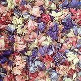 Pétales de delphiniumnaturels biodégradables –Confettis pour mariage, couleurs assorties, 5 Boxes