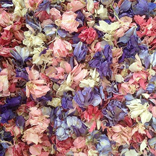 Preisvergleich Produktbild 1 Liter Natur biologisch abbaubare Rittersporn Blütenblätter in gemischten Farben mit einer weißen Organza Tasche - Hochzeitskonfetti