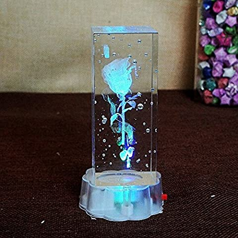 LQK-Laser 3D crystal craft LED lumières succès chinois/ornements rose Valentin cadeaux , k9 , 5.5*12 cm a roses
