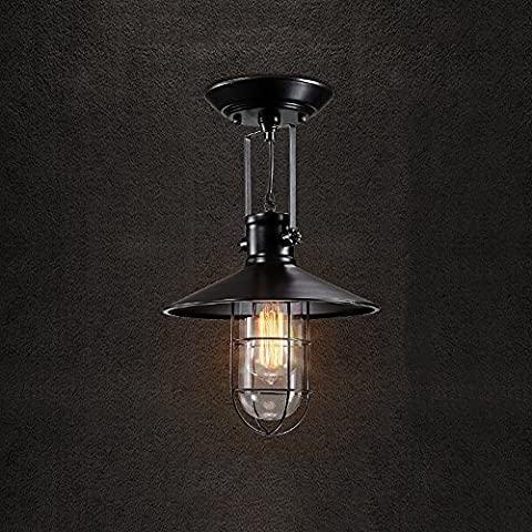 Neixy - Loft E27 Edison Vintage Barn Metal Mini Semi Flush Mount Ceiling Lights Fixtures Retro Iron Ceiling Lamps Max 60W with 1 Light Black and Rusty Finish for Cafe Bar Dining Living Room