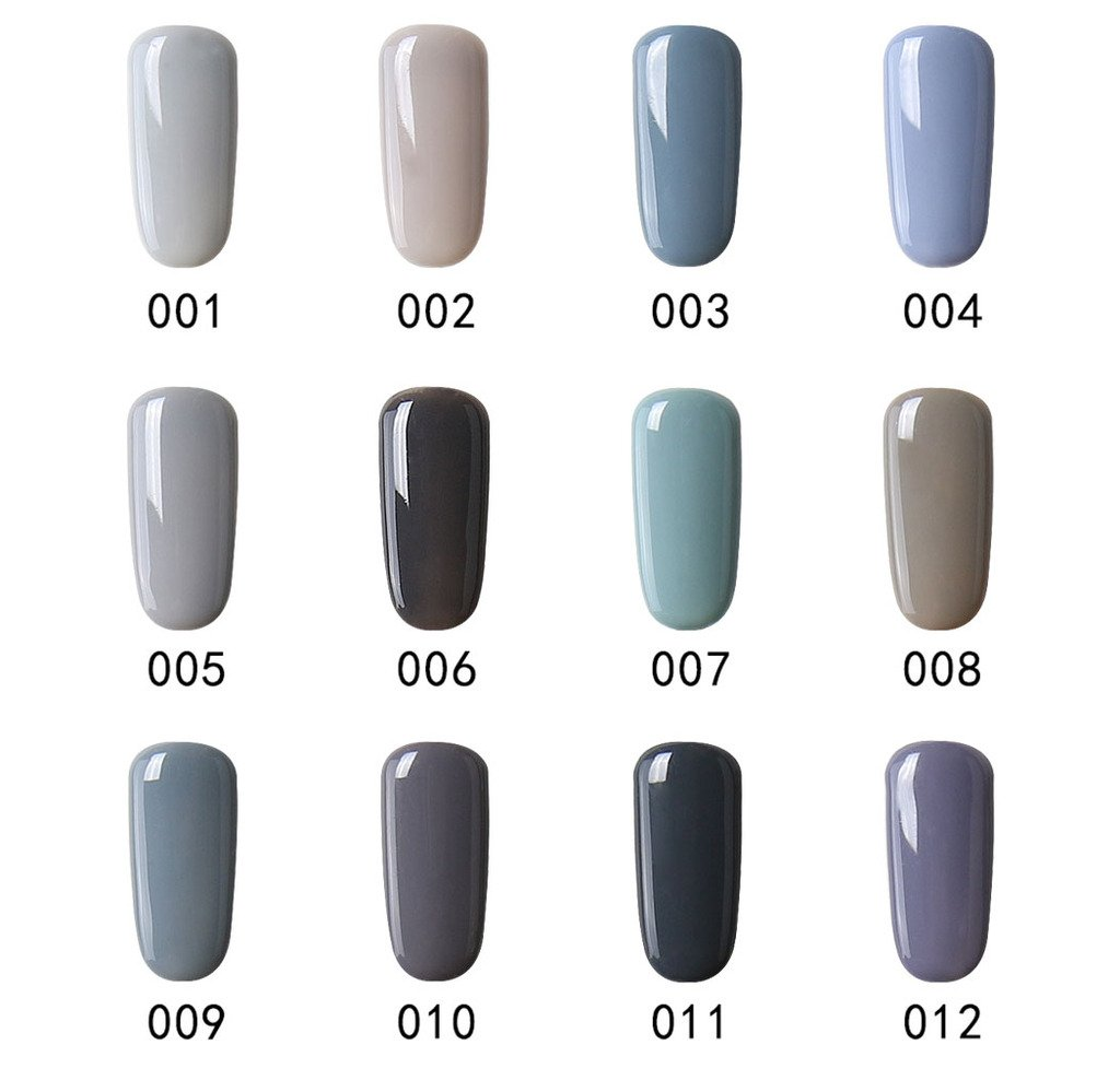 Set de esmalte de uñas de gel CLAVUZ; 12 unidades, multicolores, secado con lámpara LED o UV, 8 ml