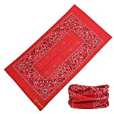 Headbands, Zupoo(TM) National Features Series 16-in-1 Multifunctional Headband Magic Scarf,Magic Bandanas,Collars Muffler Scarf Face Mask,Paisley in red by Zupoo