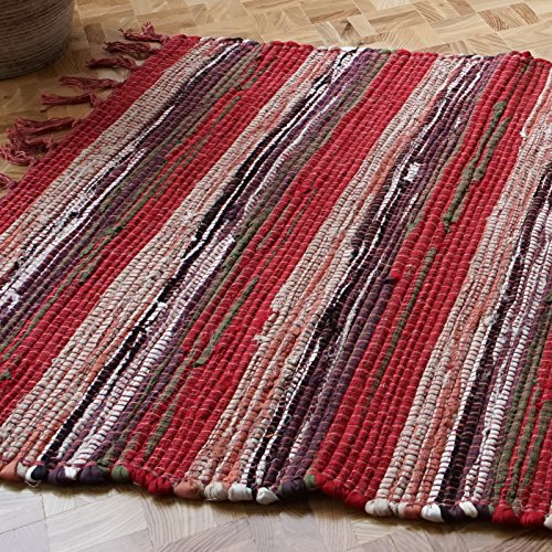 The Indian Arts Couleurs à épices du Commerce Équitable Tapis tissé à la Main Indien Loom 100% Coton recyclé, Tissu, Marron, 75x135