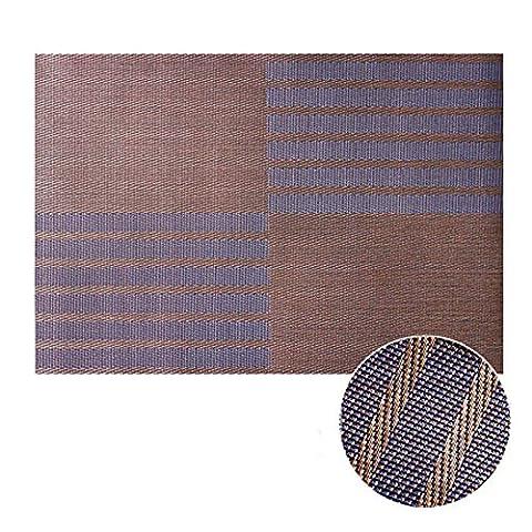 takagawa japanischen Stil, kurze Qualität Tisch-Sets PVC Untersetzer Schüssel Pad Wärmedämmung Pad Disc Pads Esstisch Matte Western Pad Geschirr, Two tone stripe Brown, (Wood Duck Ton)