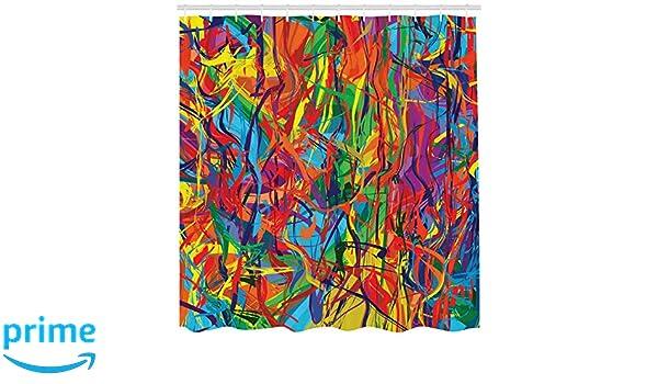 175x200cm Muster Bunte Linien Moderne Ölgemälde Grafik Regenbogen Duschvorhang