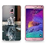Fubaoda Samsung Galaxy Note 4 Hülle,[Katze Wird Tiger] Anti-Dropping PC Handy-Tasche Back-Cover Ultra Slim Weich Silikon Transparent Designs Schutzhülle für Samsung Galaxy Note 4