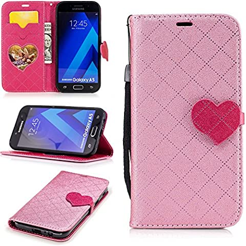 Samsung Galaxy A5 2017 Wallet Case,Samsung Galaxy A5 2017 Leather Case,Cozy Hut Love heart pattern Book Wallet PU Leather Flip Case Magnetic Closure [Drop Protection/Shock Absorption] Silicone Back Holder Cover with Card Slots & Stand & Wrist Strap For Samsung Galaxy A5 2017 - Pink love