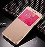 Oppo A83 Flip Cover, Original NewLike« a1 Series Pu Leather Flip Wallet Case For Oppo A83 ( FullVision Display) ,[GOLD][N1 SEARIES]