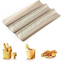 peinat Moule Baguette, Anti-adhésif Perforée Moule a Pain, Golden Plaque à Pain Pour la Cuisson de 3 Baguettes, Plaque…