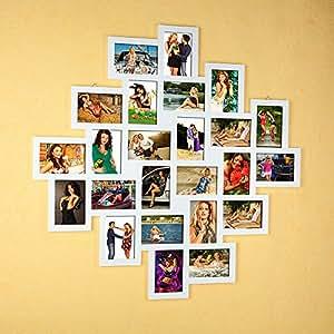 24 bilder bilderrahmen 10x15 fotogalerie in wei collage xxl fotoalbum aus holz. Black Bedroom Furniture Sets. Home Design Ideas