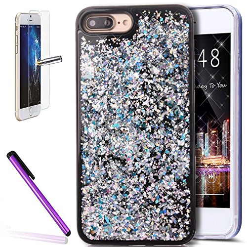 iPhone 7 Coque liquide Housse de paillettes, CE i7 [Sparkle Diamant Mode Miroir] Luxe Bling hybride souple TPU Bumper + Ultra fin PC Dos rigide Miroir pour iPhone 7 11,9 cm [+ 1 x protecteur d'écran + B Magic Liquid 1