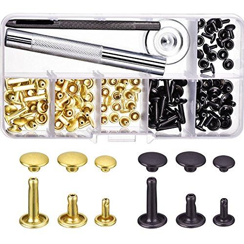 60 Set Nieten Doppel Cap Nieten Röhrenförmige Metall Nieten mit Befestigungssatz Werkzeug für Leder Handwerk Reparaturen Dekoration, 3 Größen 3 8 Messing-kappe