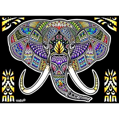 LAMINA PARA COLOREAR con caja de rotuladores. Elefante mandala