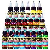 Solong Tattoo® 21 Grundfarben Tattoofarbe Set Pigment Kit Profi 1oz (30ml) für Tattoo Maschine Set...