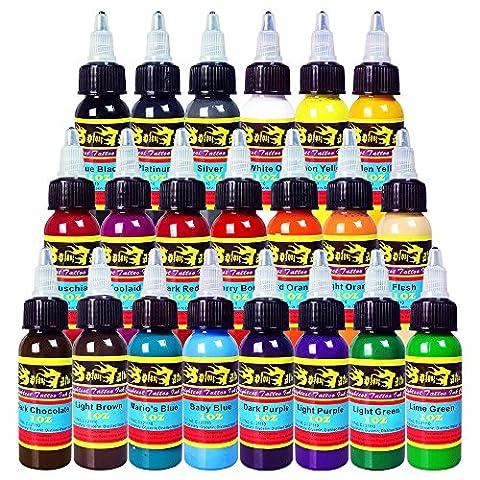 Solong Tattoo® Encre de Tatouage 21 Couleurs 1OZ 30ml /Bouteille Kit de Tatouage Pigment TI301-30-21