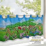 Scheibengardine TIERSAFARI, Frühling-Sommer Gardine mit einem Tiermotiv, 45x120 cm, moderne blickdichte Bistrogardine für das Kinderzimmer