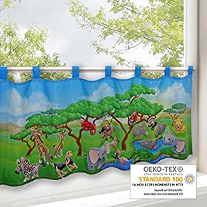 Scheibengardine tiersafari fr hling sommer gardine mit einem tiermotiv 45x120 cm moderne - Amazon kinderzimmer ...