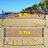 Best Volleyball Nets - GYMAX 3m/4m Foldable Adjustable Badminton Tennis Volleyball Net Review