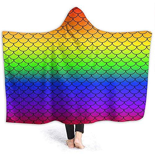 Escamas de sirena Manta con capucha del arco iris Cómoda manta antipática estática de microplush...
