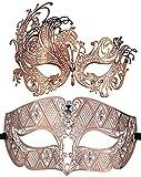 Coddsmz 2 Pack Set Masken Maskerade Ball Halloween Kostüme für Männer und Frauen (Rose Gold + Rose Gold)
