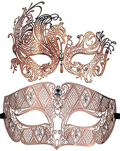 asken Maskerade Ball Halloween Kostüme für Männer und Frauen (Rose Gold + Rose Gold) (Rose-maskerade-maske)