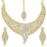 immagine prodotto fasherati placcato oro australiano diamante collana girocollo con mangtikka e orecchini set per le donne