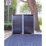 2–Cubo de basura Cajas Modelo No. 2antracita gris para 120litros de basura toneladas/Resistente a la intemperie con revestimiento de polvo/con Tapa y puerta delantera