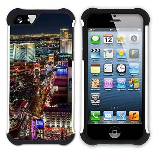 Graphic4You Las Vegas USA United States of America Postkarte Aussicht Hart + Weiche Kratzfeste Hülle Case Schale Tasche Schutzhülle für Apple iPhone SE / 5 / 5S Design #2