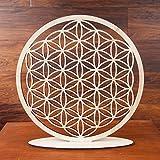 Blume des Lebens Holz Ø 36 cm Tischdekoration | Lebensblume Symbol Birkenholz stehend | Esoterik Geschenke Deko günstig kaufen