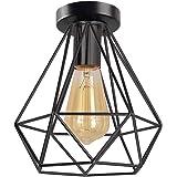 iDEGU Plafondlamp, industriële zwarte kooi, plafondlamp, vintage E27, kroonluchter, plafondlamp van metaal, retro design, pla