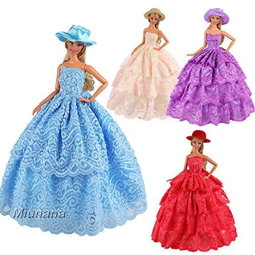 Miunana Abiti Vestiti E Accessori Per Bambola Barbie (3 Vestiti Grandi + 3  Cappelli) f43bb7b3797