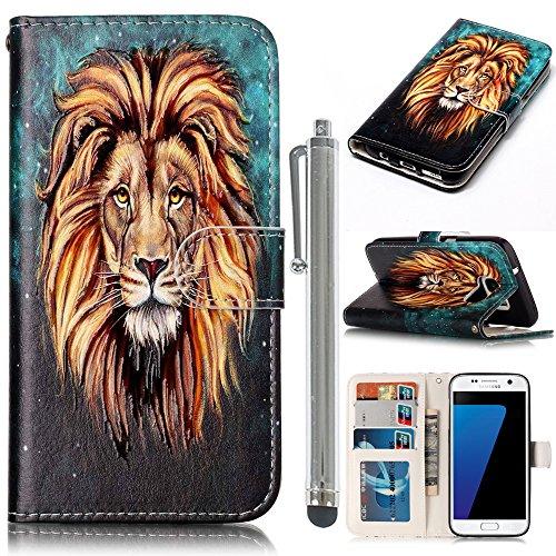 CLM-Tech PU Ledertasche mit Standfunktion für Samsung Galaxy S7 Tasche Löwen Muster schwarz grün mit Stylus silber