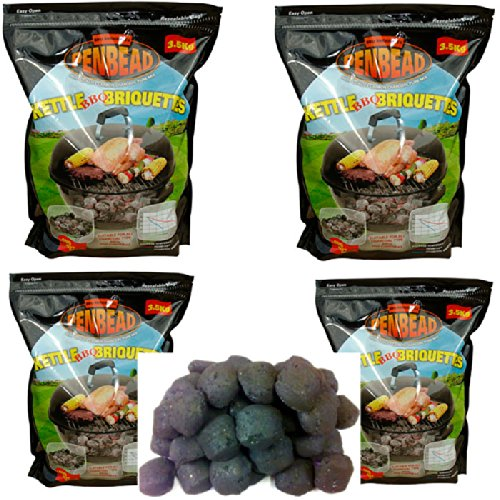 4 (3.5kg bags) Penbead Premier Charcoal Briquettes Plus 2 (5kg)bags Hardwood Lumpwood Charcoal Plus 1 box Lighter Cubes