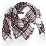 Distressed XXL Damen Oversized Schal Ÿbergro§er Deckenschal Karo Plaid Muster kariert Poncho - weiss-braun-mint