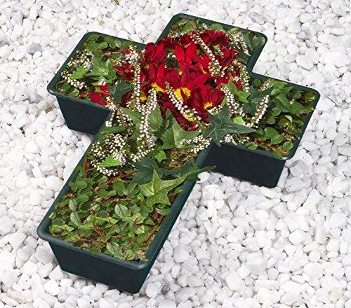 Wenko Grab Coque en forme de croix Pierre Tombale Pot de fleurs jardinière