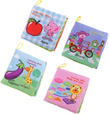 Segolike 4Pcs Baby Soft Cloth Fabric Book Set Early Educational Development Toys with Sound for Toddlers Infants Children Intellectual Kindergarten Preschool Learning Activity Perfect for Boys Girls
