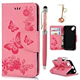 KASOS Coque Wiko Sunny, Coque Housse Case Bumper Étui Coque de Protection en PU Cuir & TPU Ultra Slim Mince à Rabat Flip Cover Support Magnétique Adsorption Porte-carte Étui Dessin -Papillon Rose