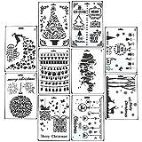 Fröhliche Weihnachtsschablone, leegoal 10 Stück wiederverwendbare Malerei Zeichnung Schablonen Vorlage set für Bullet Journal, Scrapbooking, Notebook,Planer, Tagebuch, Karte machen, DIY Craft Projekte