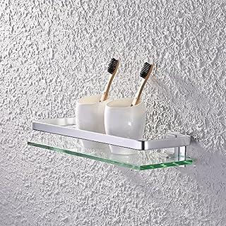 Eacute tage gravere en verre de salle de bain avec rail en aluminium et verre tremp - KES - de douche rectangulaire style contemporain - Fixation murale, argent, A4126A