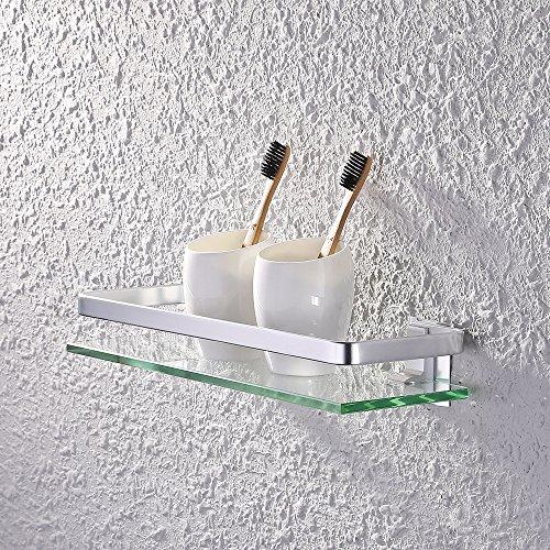 Kes a4126a - mensola da bagno, in vetro, con bordo in alluminio 1 pezzo