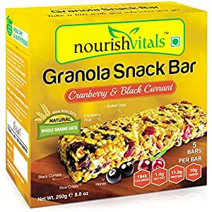 Nourish Vitals Granola Snack Bar - Cranberry & Black Currant (5 Bars) - 250g