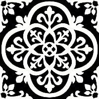 WallPops FP2475 Gothic Peel & Stick Floor Tiles, Blacks, Set of 10 Pieces